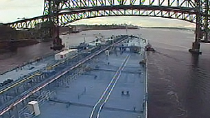 An oil tanker heads under the Second Narrows Bridge